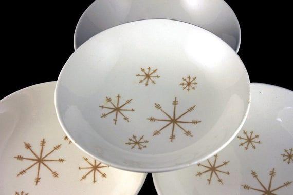 Dessert Bowls, Royal China (USA), Crystal Pattern, Gold Star Design, White and Gold, Fruit Bowls, Set of 4