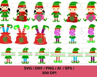 Elf SVG, Elf Monogram SVG, Elf Clipart, Christmas Elves svg, Elf Vector, Christmas Monogram Cut files, Elf png, Christmas SVG