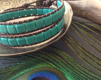 Minty Tile Bead Leather Wrap Bracelet