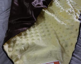 Yellow Mink & Brown Silky Custom Made Full Size Crib Blanket