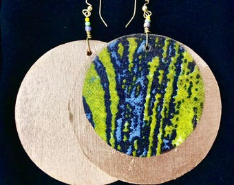 Large statement earrings in genuine ankara (green) and gold or silver