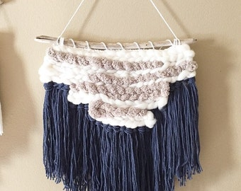 weaving, macrame weaving, woven wall hanging, indigo wall hanging, yarn wall hanging, woven wall art, woven tapestry, driftwood decor