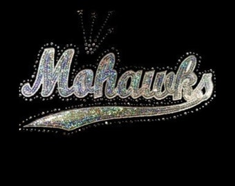 Mohawks - Silver or Blue - Mascots - Iron on Transfer - Sequin and Rhinestone - J8302