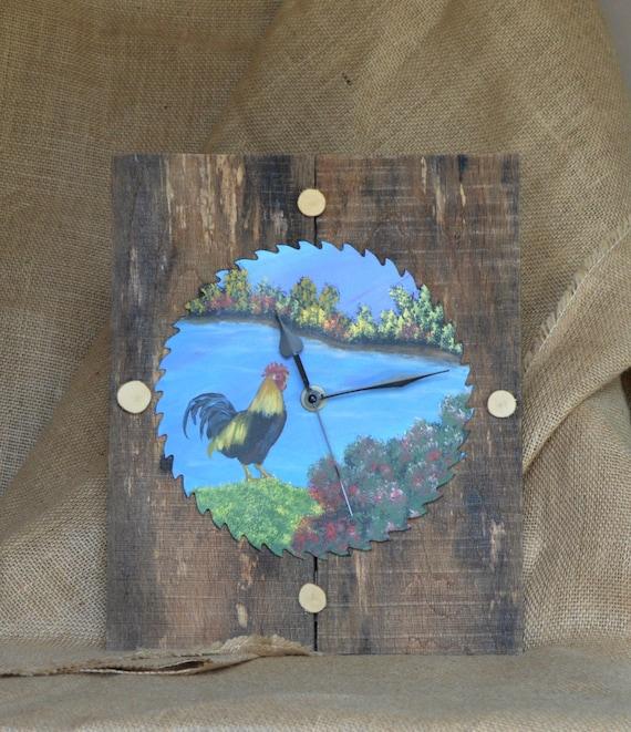 Items similar to Rustic original saw blade wall clock, saw blade art, rooster wall art, rustic ...
