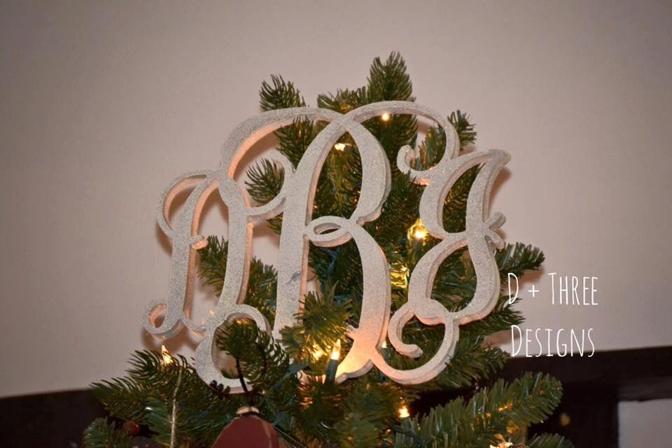 Painted Monogram Christmas Tree Topper // Wooden Monogram