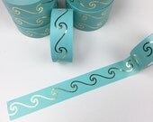 Teal and Gold Foil Waves Washi Tape