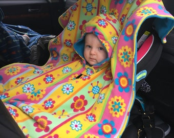 READY TO SHIP! Car Seat Safe Poncho - Yellow and Pink Flowers for Baby Girl - Size Small (infant through 24mo)