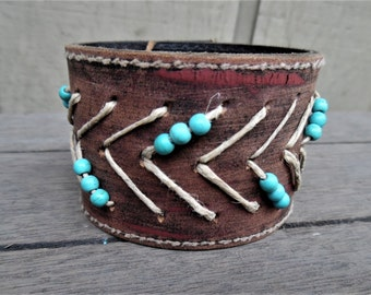 Painted Distressed Brown Tribal Beaded Hemp Arrows Upcycled Leather Cuff Bracelet