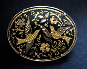 Vintage 1970s Signed Damascene 'Bird' Brooch