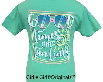 Girlie Girl Originals Good Times Tan Lines Cool Mint Short Sleeve T-Shirt