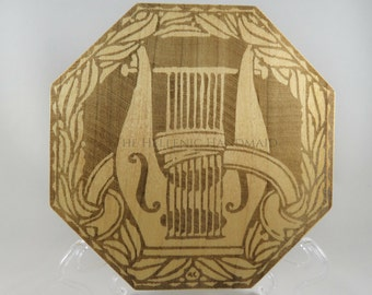 Apollon's Lyre Wooden Altar Paten, laser engraved 8 sided maple wood trivet, altar tile agalma to the Greek God Apollo, offering plate