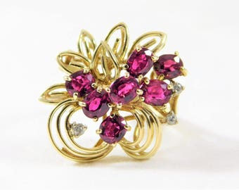 Exquisite Vintage 14k Gold Cluster Ring with AA Rubies and Diamond Accents