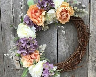 Summer Wreaths for Front Door, Spring Wreath, Grapevine Wreath, Peony Wreath, Door Wreath, Garden Wreath, Elegant Wreath