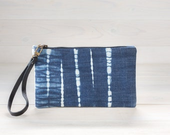 Tesuji Shibori Denim Clutch for NOW