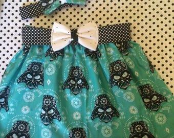 Skirt & matching bow clip Star Wars Darth Vader Sugar Skulls - Baby - Toddler Girl - Elastic Waist Twirl Skirt w/bow belt