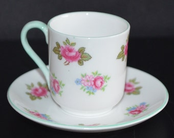 Miniature Demitasse SHELLEY England Cup and Saucer Rosebuds Mid Century English Porcelain 13426 Pattern Fine Bone China