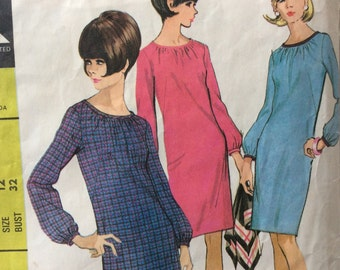 McCall's 8362 misses sheath dress size 12 bust 32 vintage 1960's sewing pattern