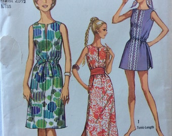 Simplicity 9359 vintage 1970's misses Jiffy dress or tunic & shorts sewing pattern size 12 bust 34   Uncut  Factory folds