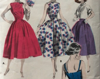 Butterick 8129 junior misses dress and jacket size 11 bust 31.5 bust 31 1/2 vintage 1950's sewing pattern