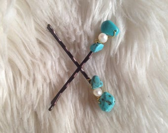 Turquoise and Pearl Bobby Pins