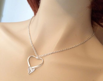Swarovski clear crystal heart necklace