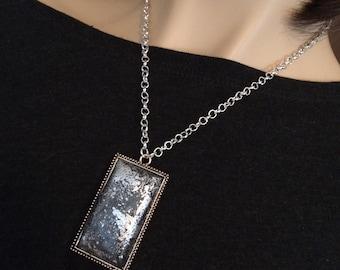 silver leaf polymer clay necklace
