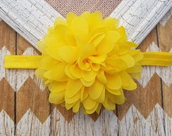 Yellow flower headband, yellow headband, girls headband, toddler headband, baby headband, yellow baby headband, big flower headband