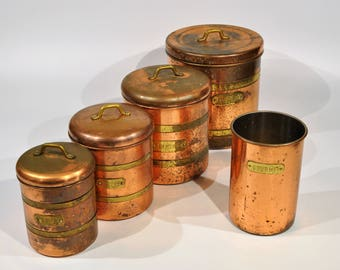 Copper Containers 5 pc set Copper Kitchen Decor/Farmhouse Rustic Decor/French Country Kitchen/Tea/sugar/coffee/flour copper Keeper/farmhouse