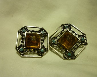 B11 Vintage Silver Toned with Blue & Amber Stones Clip-on Earrings.