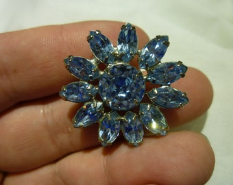 B24 Vintage Silver Toned and Light Blue Crystals Pin.