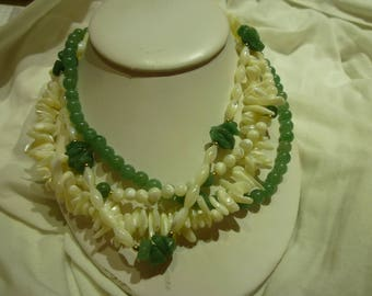 G41 Vintage Jade and Mother of Pearl Necklace.
