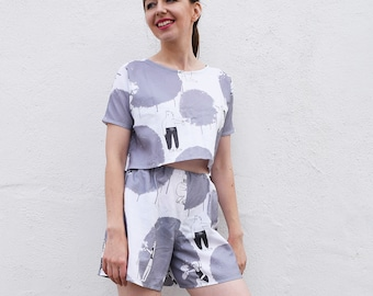 Cute Graffiti Animals matching co-ords set, monochrome two piece set, all over print twin set, fun print top and shorts, kawaii outfit