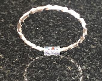 Twisted Silver Argentium Ring Ladies Gents Slim Stacker Size W Handmade