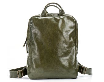 green backpack - leather laptop backpack women - green leather backpack women - womens leather backpack - soft leather backpack - UNOBPL