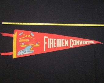 Vintage Felt Pennant -  Firemen Convention