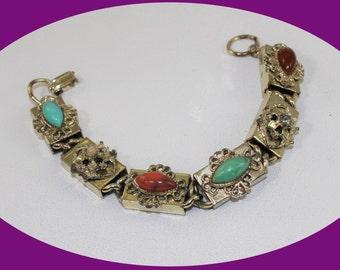 Vintage Charm Bracelet Chunky Bracelet Gold Charm Bracelet,Gold Charm Bracelet, Gold Chain Bracelet Vintage Jewelry
