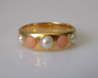 Victorian Coral Pearl Gold Ring Band