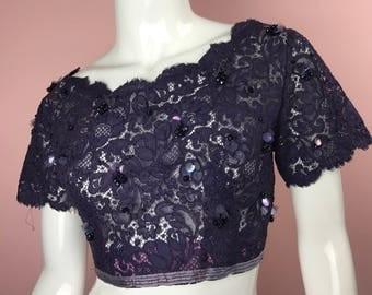 Vintage Purple Sequin Crop