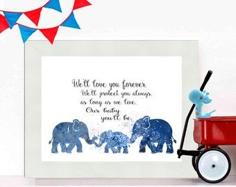 Elephant Nursery Decor Boys Nursery Decor Nursery Poster Nursery Wall Art Poster Printable Nursery Printable Elephant Decor