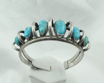 Incredible Original Southwest Native American Turquoise Sterling Silver Cuff Bracelet  #ROWTQ-CF5