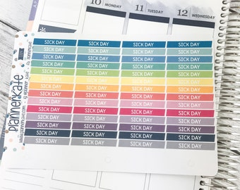 25% Off! S314 || SICK DAY Stickers for Planner (56 Removable Matte Stickers)