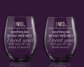 Will You Be My Bridesmaid - Maid of Honor Proposal- Bridesmaid proposal- Asking Bridal Party- bridesmaid wine glasses