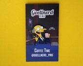 Simpsons Mr. Burns Coffee Time Enamel Pin 90s Gift Coffee Addict Soft Enamel Pin Caffeine Gifts
