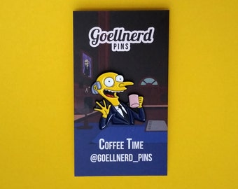 Simpsons Mr. Burns Coffee Time Enamel Pin 90s Gift Coffee Addict Soft Enamel Pin Caffeine Gifts