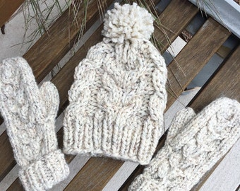 Cable Knit Wool Hat and Mitten Set   Wheat