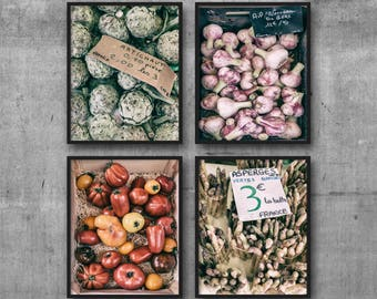 Set of 4 Prints Rustic Kitchen Decor, Print Set, farmhouse decor, French Market Photo, Food Photography, Food Print, Kitchen Print