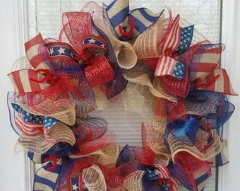 SALE 4th July Wreath, Patriotic Wreath, USA Wreath, Rustic Wreath, Memorial Day Wreath, Deco Mesh Wreath, Ribbon Wreath, Flag Wreath, Jute M