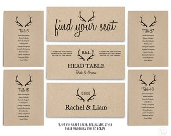 Wedding Seating Chart template, Printable Wedding Seating Chart, Table Numbers 1 to 40, INSTANT DOWNLOAD - Editable Text - Rustic Antler