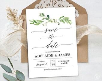 Garden Greenery Save the Date Template, Printable Save the Date Card, Wedding Save the Date, Editable Text, 5x7, Garden Greenery
