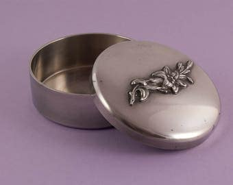Round Lidded Pewter Box - French Vintage - Trinket Box - Lily Flower